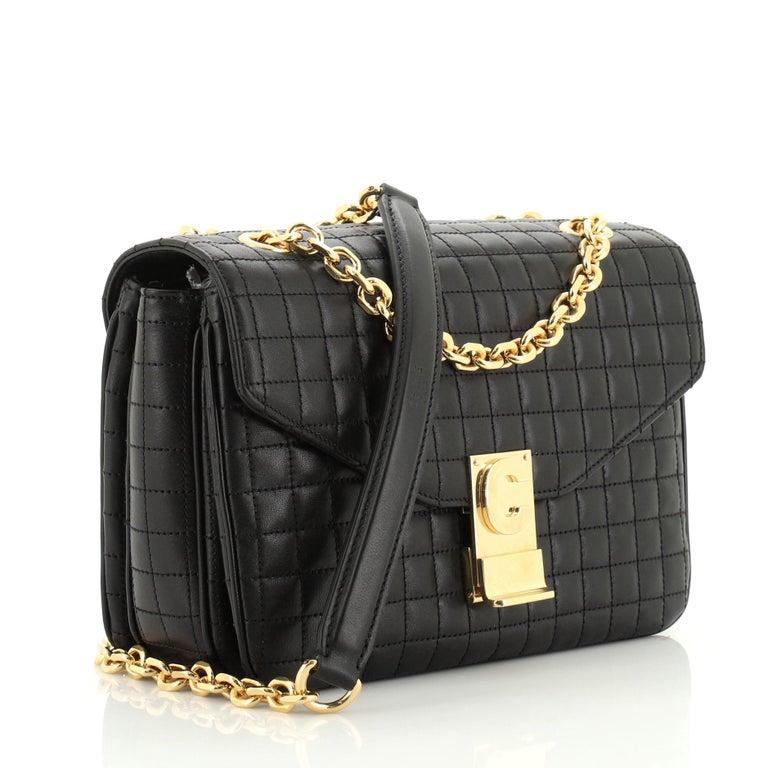 Black Celine C Bag Quilted Leather Medium