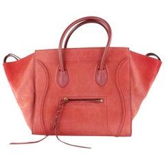 Céline Cabas Phantom Luggage Dark 16cez0129 Red Suede Leather Satchel