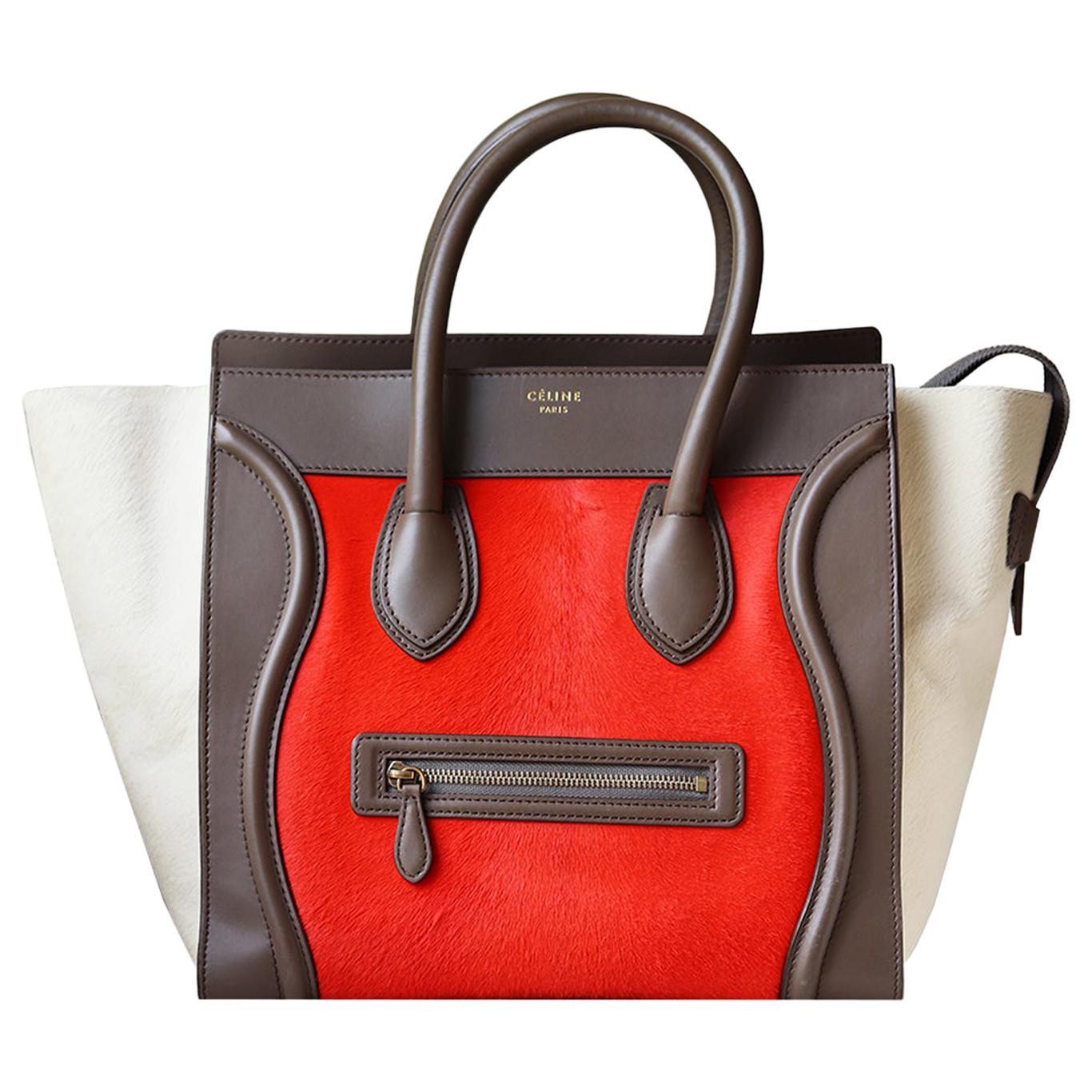 Celine Calf-Hair and Leather-Trimmed Luggage Bag