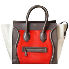 Celine Calf Hair & Leather Trimmed Luggage Bag