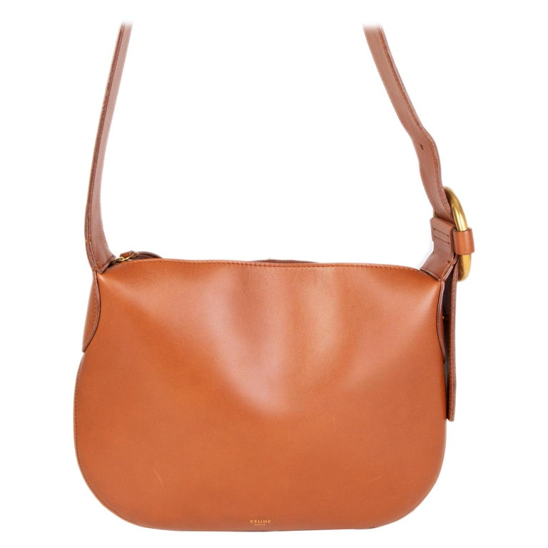 CELINE camel brown leather Shoulder Bag For Sale