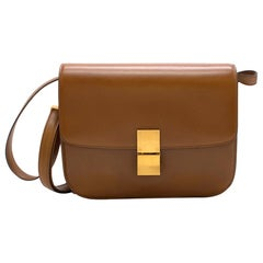Celine Camel Medium Classic Bag in Box Calf