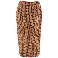 Celine Camel Pony Hair Vintage Monogram Skirt - Size US 8