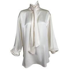 Celine Candle light Silk Satin Oversize Tunic Top Full Sleeves Neck Ties