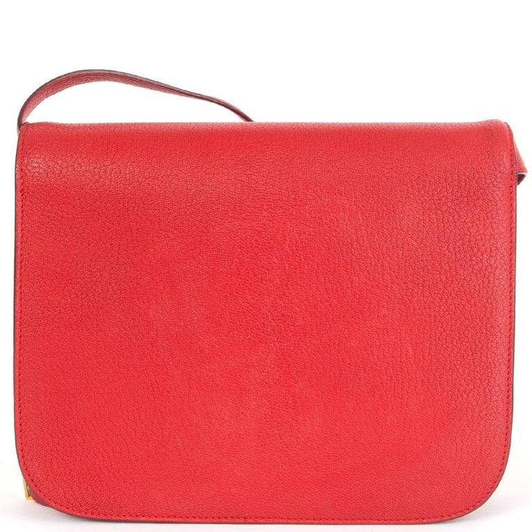 Red CELINE Carmin red goatskin leather CLASSIC MEDIUM BOX Shoulder Bag For Sale