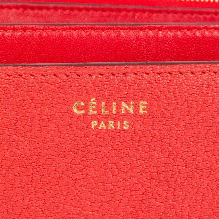 CELINE Carmin red goatskin leather CLASSIC MEDIUM BOX Shoulder Bag For Sale 1