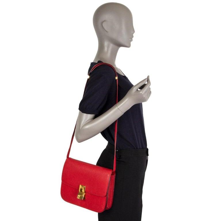 CELINE Carmin red goatskin leather CLASSIC MEDIUM BOX Shoulder Bag For Sale 2