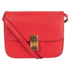 CELINE Carmin red goatskin leather CLASSIC MEDIUM BOX Shoulder Bag