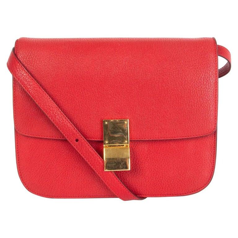 CELINE Carmin red goatskin leather CLASSIC MEDIUM BOX Shoulder Bag For Sale