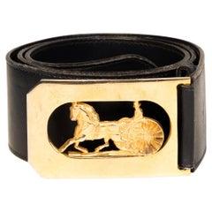 Celine Carriage Logo Buckle Navy Belt (Size 90/30)