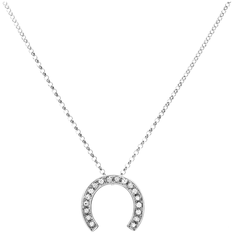 Celine Céline 18 Karat White Gold Diamond Horseshoe Pendant Necklace
