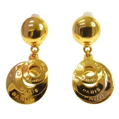 Celine 'CELINE PARIS' Gold Logo Dangle Drop Evening Ball Earrings