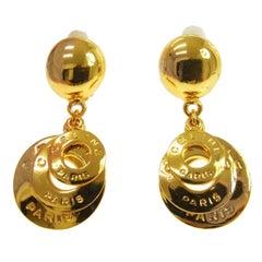 Celine 'CELINE PARIS' Gold Logo Dangle Drop Evening Ball Earrings
