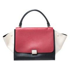 Celine Tricolor Leather Medium Trapeze Bag