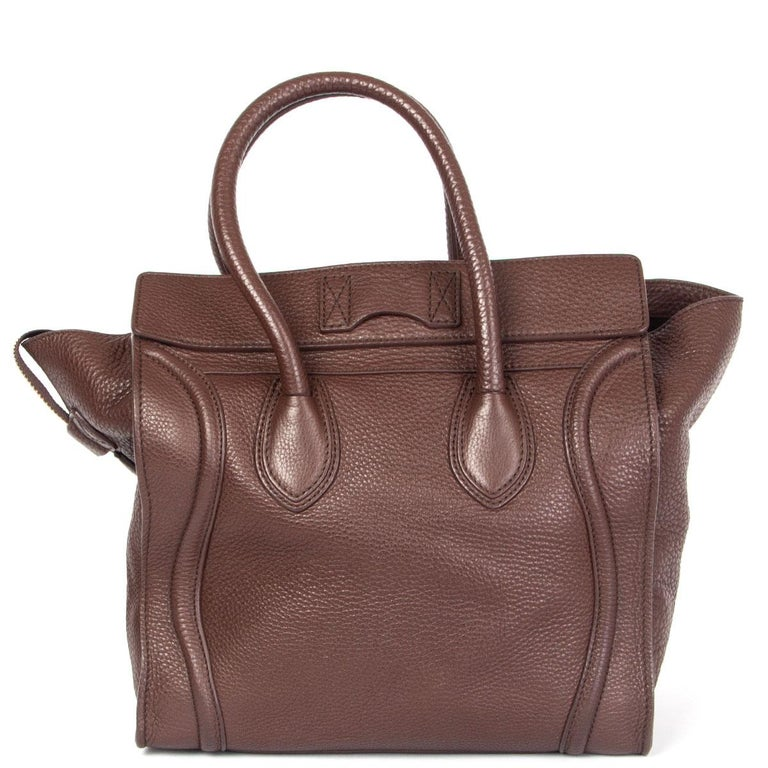 Brown CELINE chocolate brown leather MINI LUGGAGE TOTE Bag For Sale