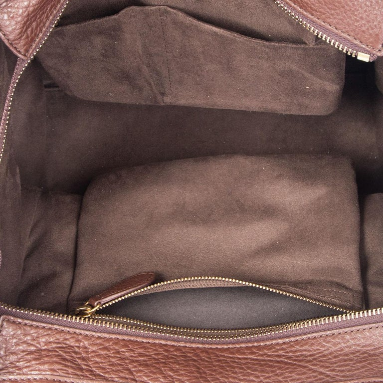Women's CELINE chocolate brown leather MINI LUGGAGE TOTE Bag For Sale