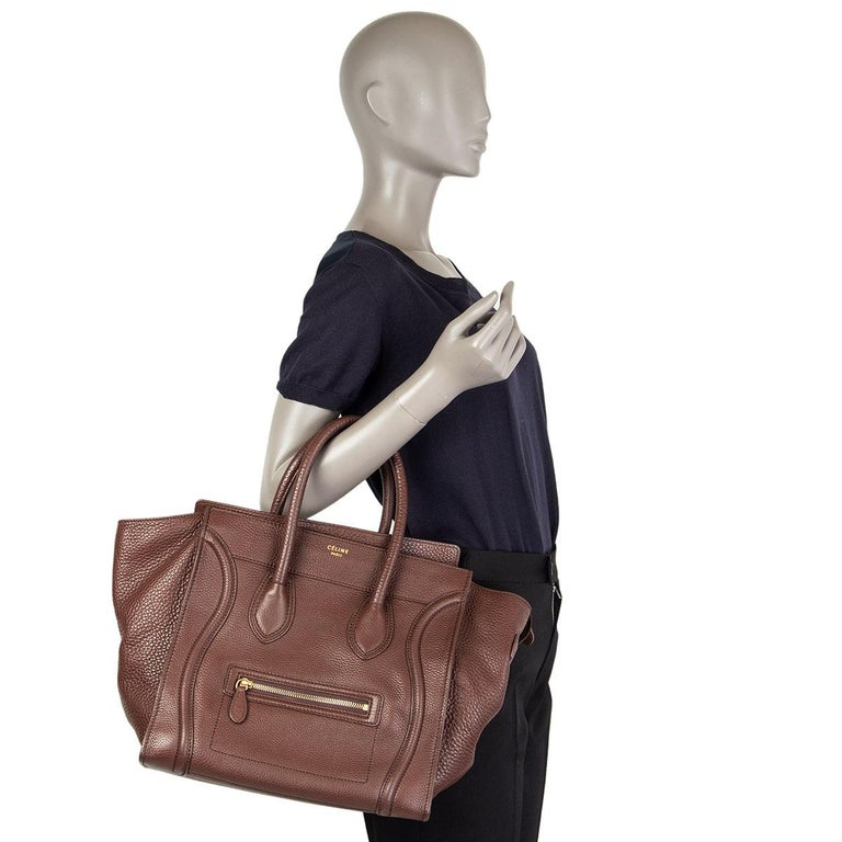 CELINE chocolate brown leather MINI LUGGAGE TOTE Bag For Sale 3