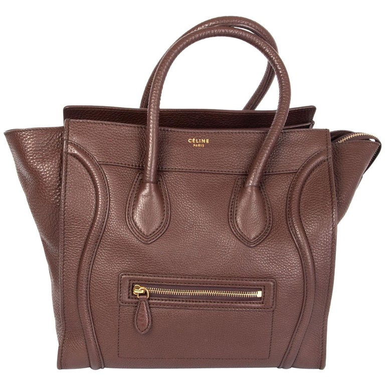 CELINE chocolate brown leather MINI LUGGAGE TOTE Bag For Sale