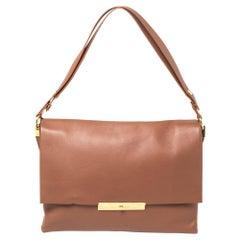 Celine Cinnamon Brown Leather Blade Flap Bag