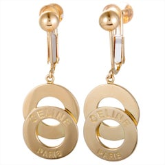Celine Circle Gold Dangle Earrings