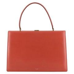Celine Clasp Top Handle Bag Leather Medium