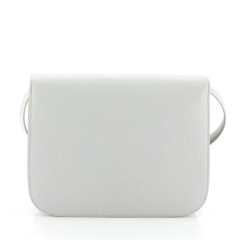 Gray Celine Classic Box Bag Grainy Leather Medium