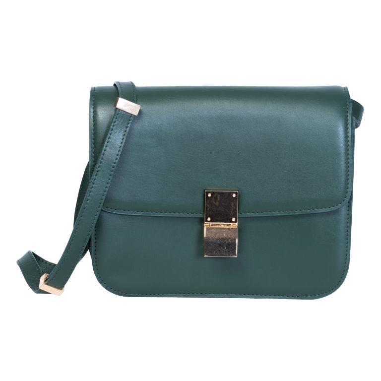 Celine Classic Green Leather Box Bag