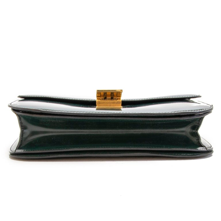 Celine Classic Green Patent Leather Bag In Good Condition For Sale In Antwerp, BE