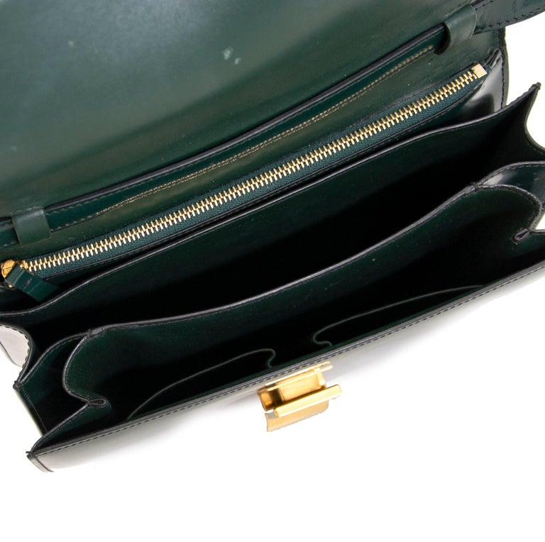 Women's Celine Classic Green Patent Leather Bag For Sale