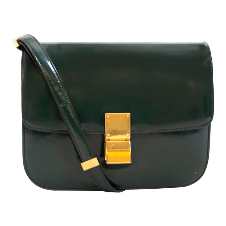 Celine Classic Green Patent Leather Bag For Sale