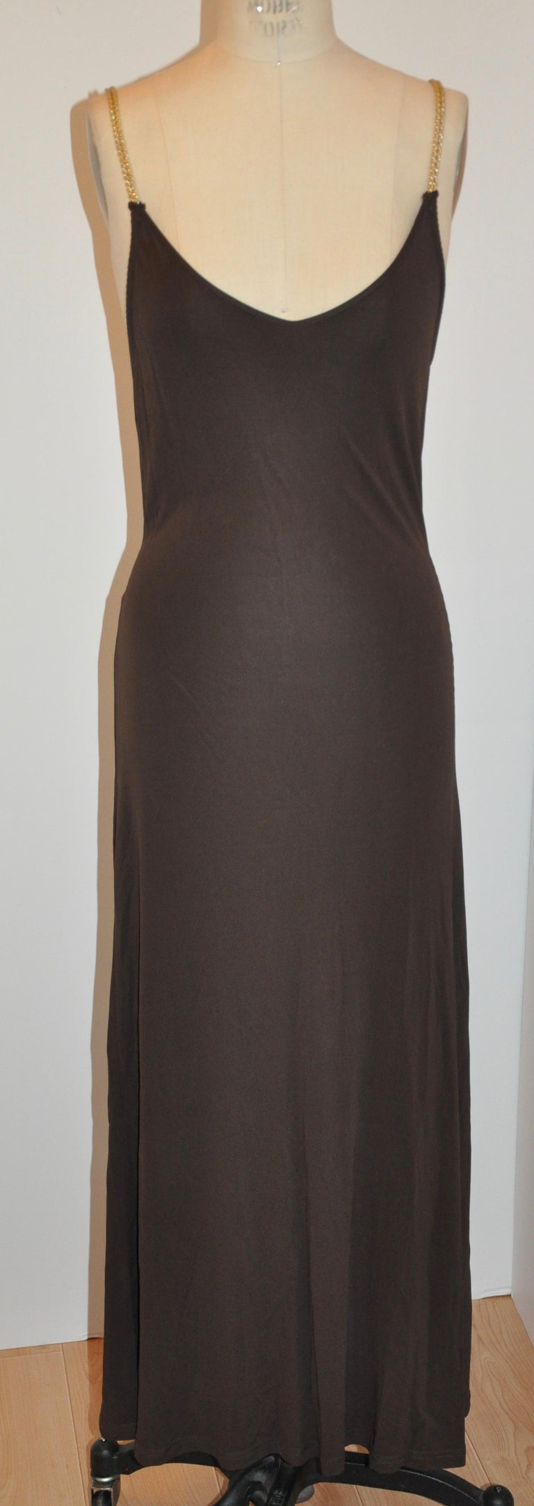 Black Celine Coco-Brown Silk-Blend Jersey Low-Cut Form-Fitting Maxi Dress For Sale