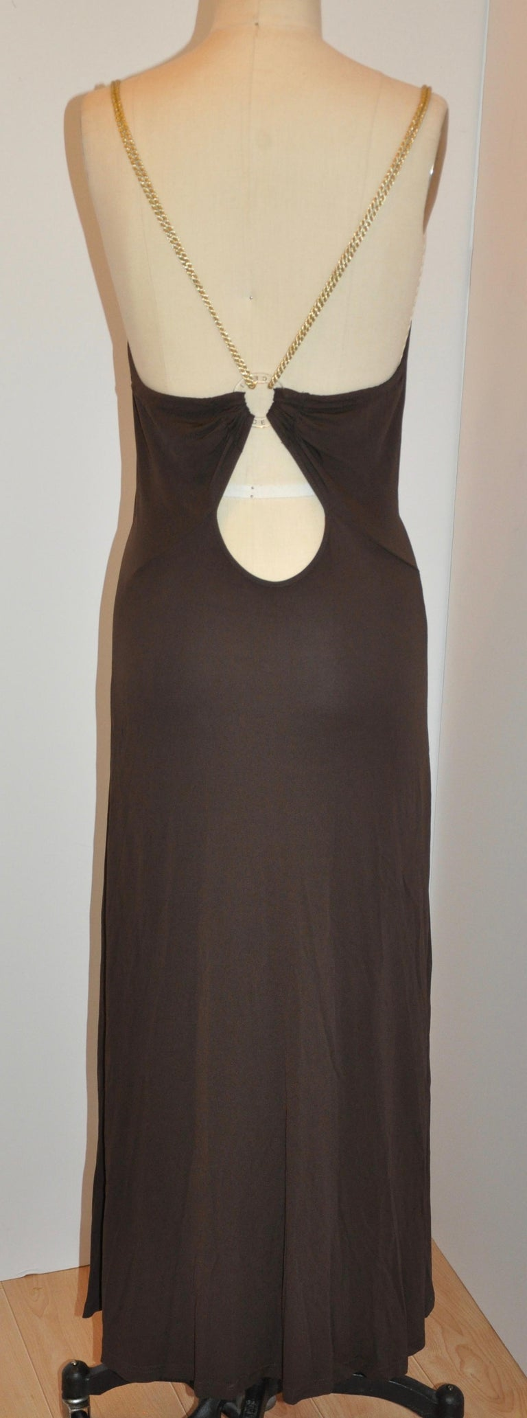Celine Coco-Brown Silk-Blend Jersey Low-Cut Form-Fitting Maxi Dress In Good Condition For Sale In New York, NY