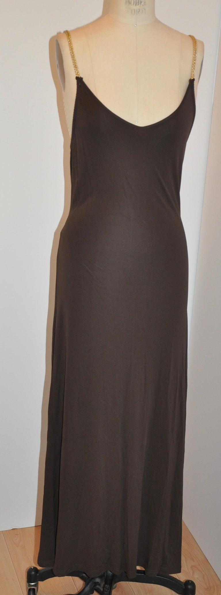 Celine Coco-Brown Silk-Blend Jersey Low-Cut Form-Fitting Maxi Dress For Sale 2