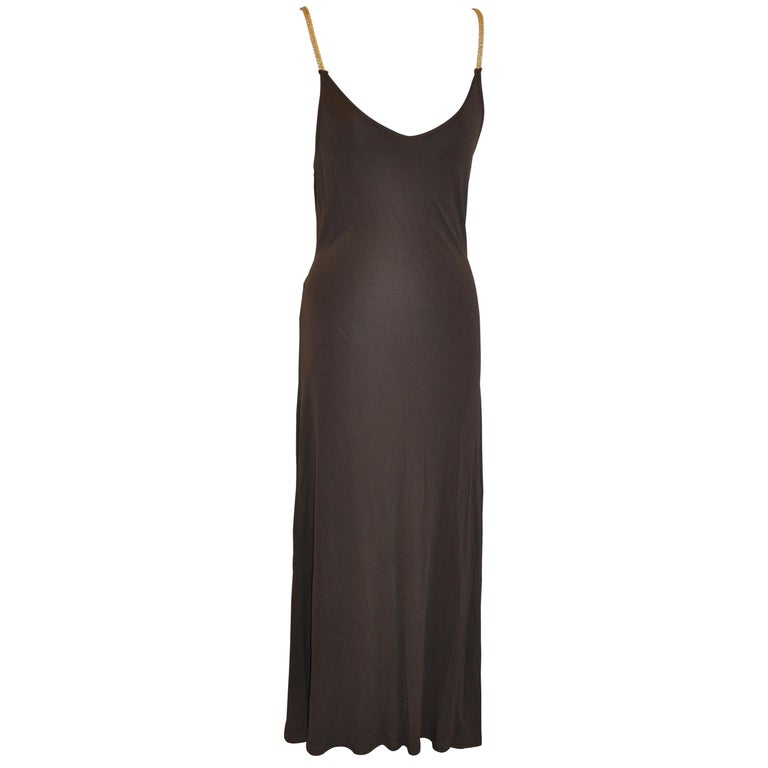 Celine Coco-Brown Silk-Blend Jersey Low-Cut Form-Fitting Maxi Dress For Sale