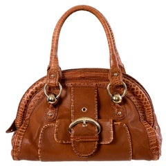 CELINE cognac brown leather FAUX CROC FRAME DOCTOR Bag
