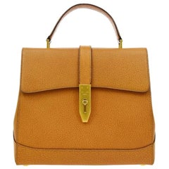 Celine Cognac Leather Gold Evening Kelly Top Handle Satchel Shoulder Flap Bag