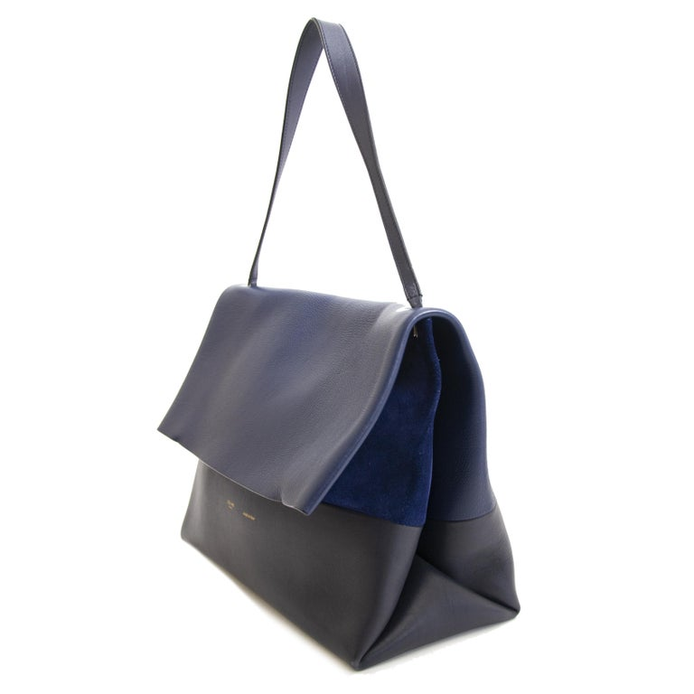 Black Celine Colorblocked Leather Shoulder Bag For Sale