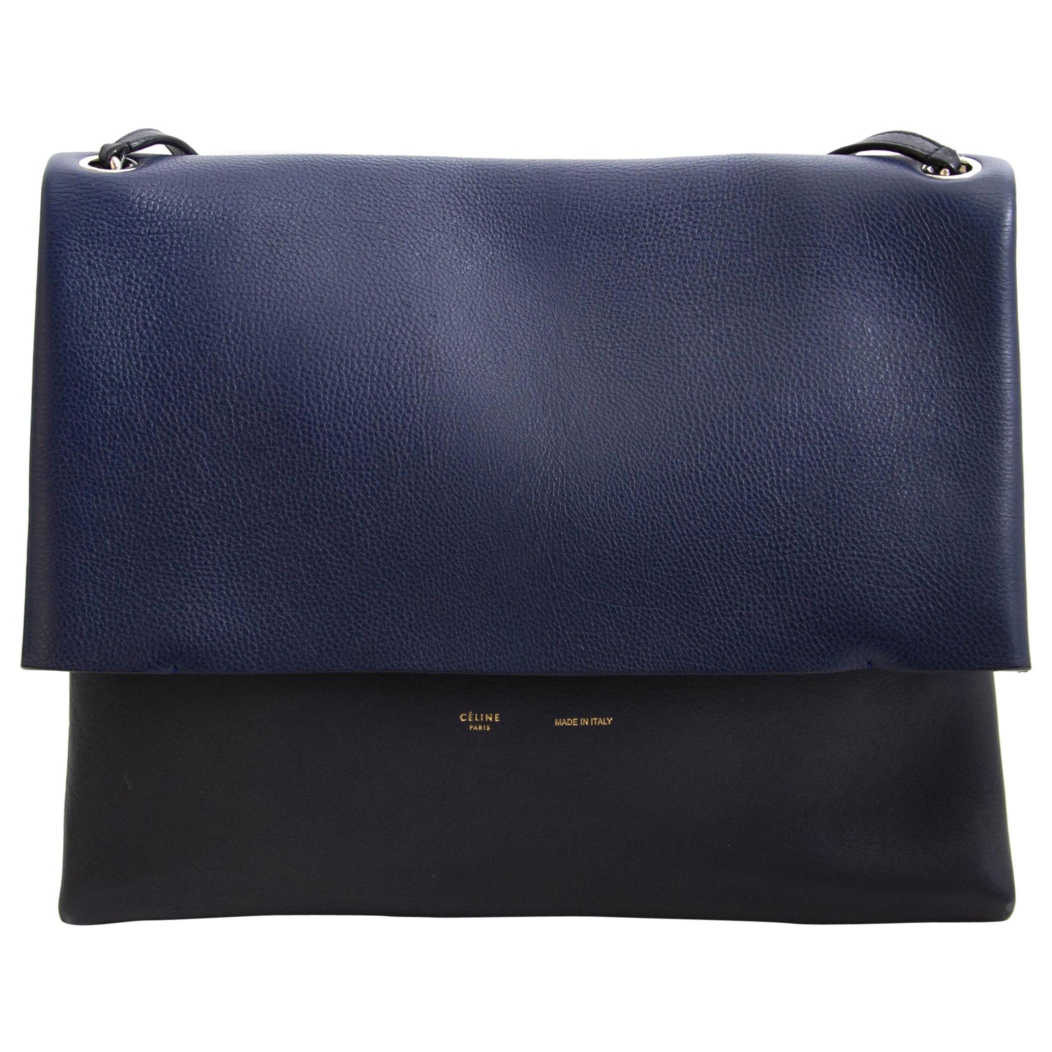 Celine Colorblocked Leather Shoulder Bag