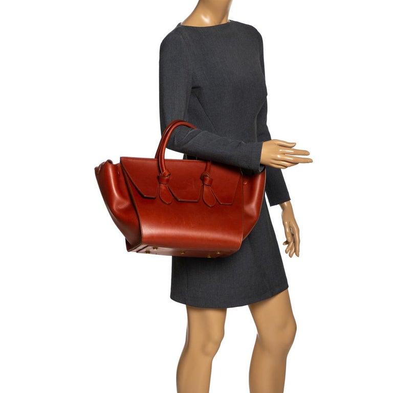 Celine Copper Leather Small Tie Tote In Good Condition In Dubai, Al Qouz 2