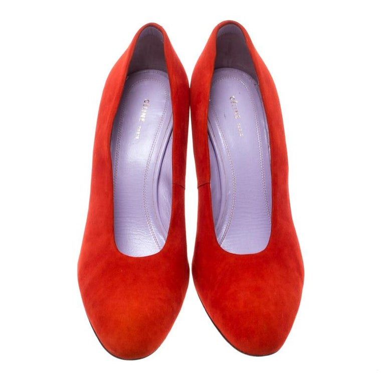 Women's Celine Coral Red Suede Pumps Size 37 For Sale