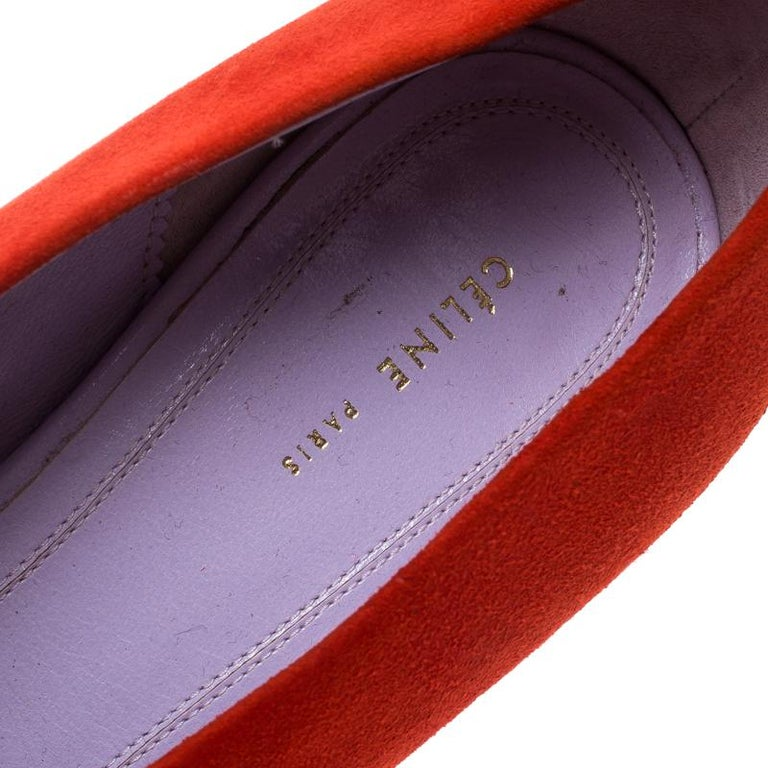 Celine Coral Red Suede Pumps Size 37 For Sale 2