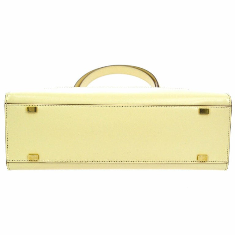 Women's Celine Cream Ivory Leather 2 in 1 Gold Top Handle Satchel Kelly Style Flap Bag For Sale