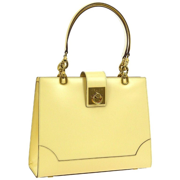 Celine Cream Ivory Leather 2 in 1 Gold Top Handle Satchel Kelly Style Flap Bag For Sale