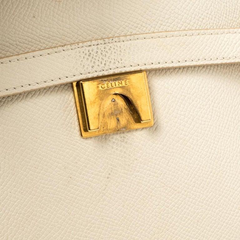 Celine Cream Leather Mini Belt Top Handle Bag For Sale 5