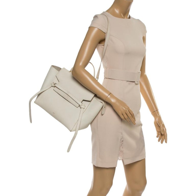 White Celine Cream Leather Mini Belt Top Handle Bag For Sale