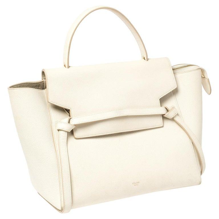 Celine Cream Leather Mini Belt Top Handle Bag In Good Condition For Sale In Dubai, Al Qouz 2