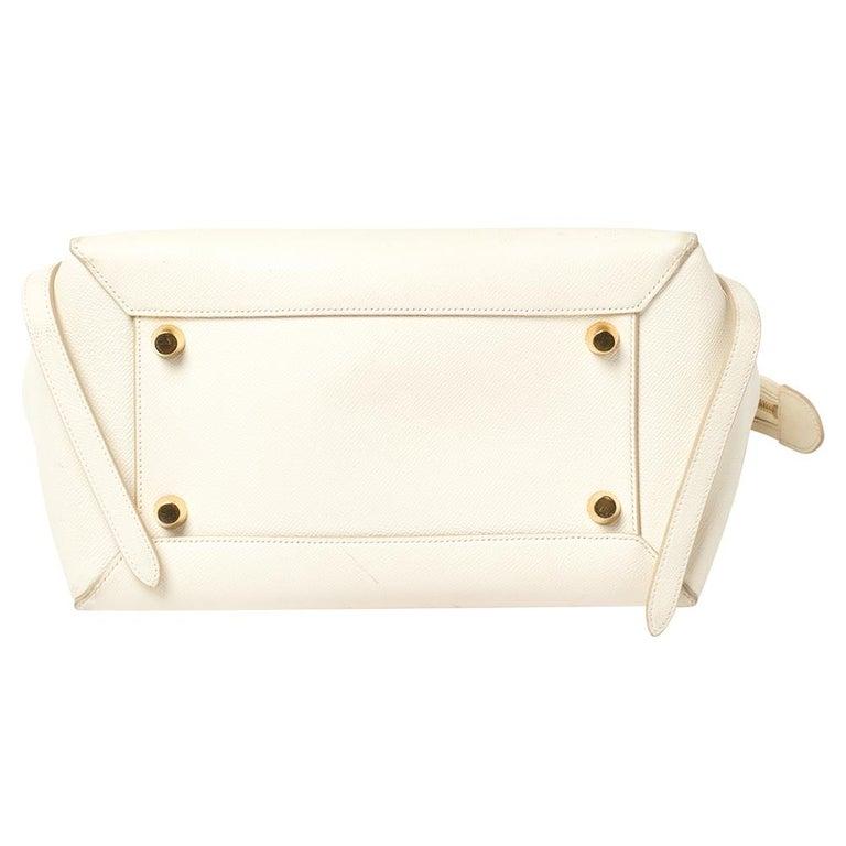 Women's Celine Cream Leather Mini Belt Top Handle Bag For Sale