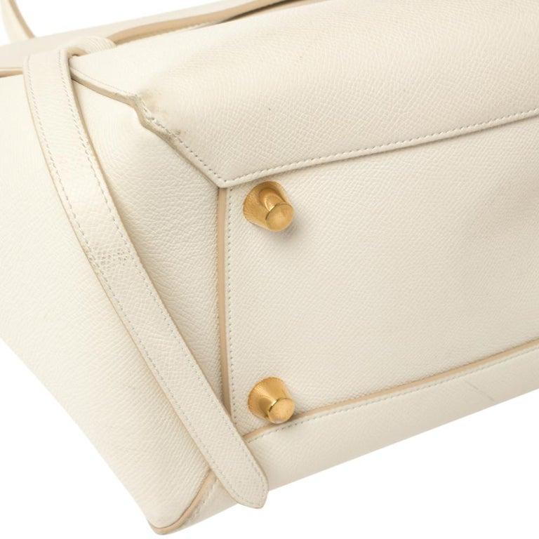 Celine Cream Leather Mini Belt Top Handle Bag For Sale 1