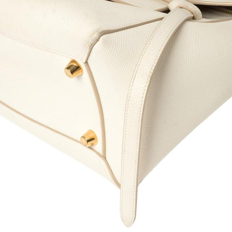 Celine Cream Leather Mini Belt Top Handle Bag For Sale 2