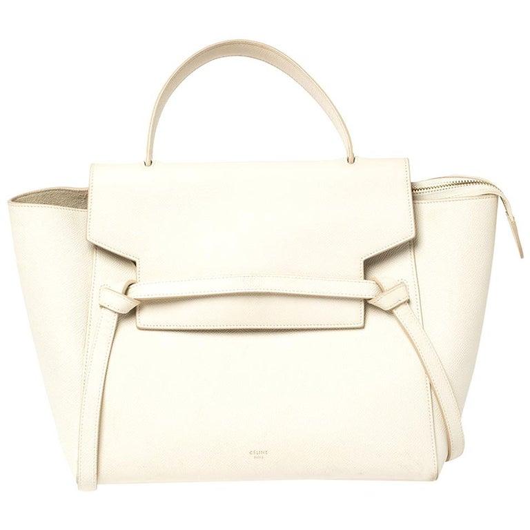 Celine Cream Leather Mini Belt Top Handle Bag For Sale